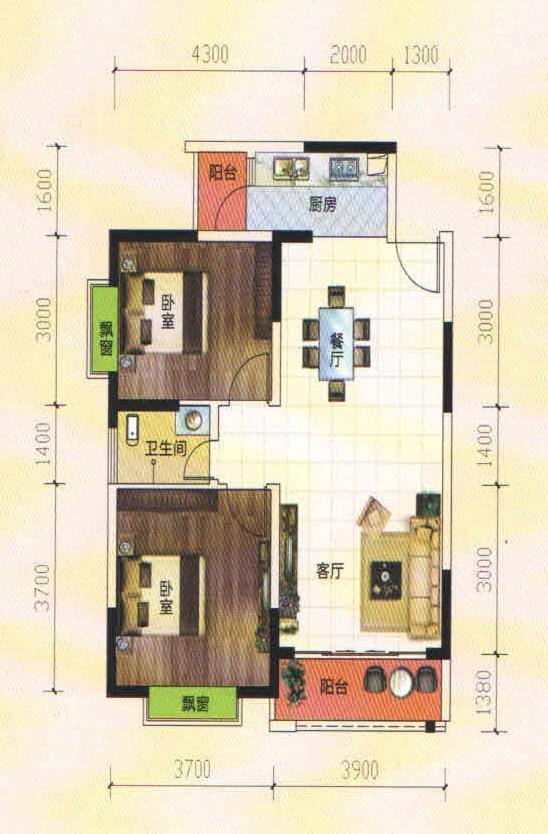 A2/F2户型2房2厅1卫